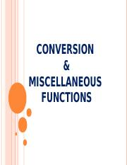 18Conversion & Miscellaneous functions