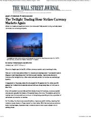 The Twilight Trading Hour Strikes Currency Markets Again - WSJ.pdf