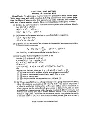 Final Exam on Ordinary Differential Equations