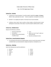 Elements of Music Study Guide