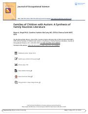 Families of Children with Autism A Synthesis of Family Routines Literature