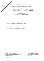 HKALE Pure Maths 2007 Paper02