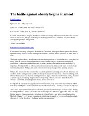 The battle against obesity begins at school.docx - Article - HLTH 200 Assignment 1.docx