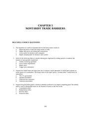 CHAPTER 5 NONTARIFF TRADE BARRIERS