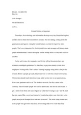BSAD Essay 1: Formal Writing is Important