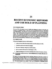 L-25 RECENT ECONOMIC REFORMS AND THE ROLE OF PLANING