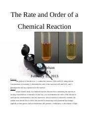 Lab 8. The Rate and Order of a Chemcial Reaction. 2.11.13