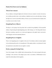 Porter Five Forces on Car Industry.docx