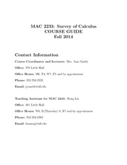 MAC 2233- Survey of Calculus Syllabus Fall 2014