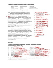 matter properties notes - Choose words from the list to fill in the ...