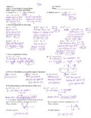 Test Review Unit 3 Answer Key - key Algebra 2 Test Review