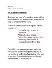 Ch 1 Statistics and Variation