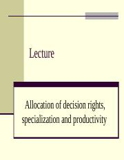 Allocation of decision rights (1)