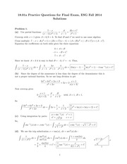 ES 1801 Fall 2014 Practice Final Exam Solutions