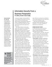 01 Information Security From a Business Perspective A Lottery Sector Case Study