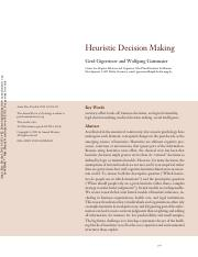 4.4Heuristic Decision Making
