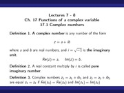 Complex Numbers (17.1, 17.2)
