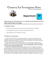 CHM 151 Vinegar Titration Lab Procedure and Worksheets Fall 2014