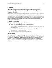 chapter07 Risk Management Identifying and Assessing Risk