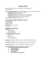 Chapter 9 Review Forms of departmentalization