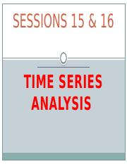 Session  15 &16 Time Series (2)