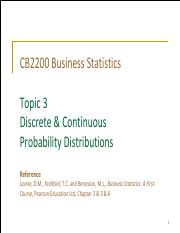 Topic 3 Discrete & Continuous Probability Distributions (Student)