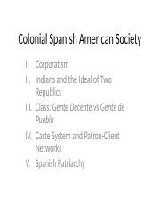 Colonial Spanish American Society