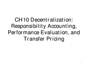 CH10 Responsibility Accounting