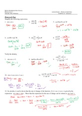 Simplifying Trig Functions Review with Answers