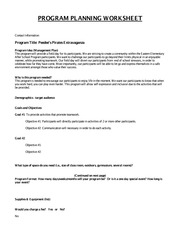 GAP 4 PROGRAM PLANNING WORKSHEET part 1