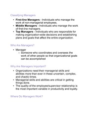 Principles of Management-Managers