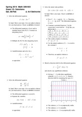 Exam 1 Version D on Differential Equations