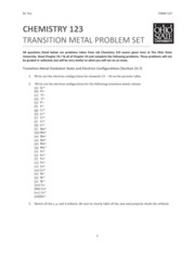 Transition Metal Homework Set questions only