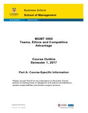 MGMT 5050 S1 2017 Business_Course_Outline_Part_A_S1_2017