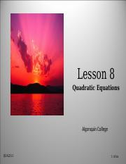 Lesson 11 - Introduction to Quadratic Equations (1)