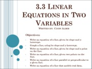 3.3 Linear Equations in Two Variables