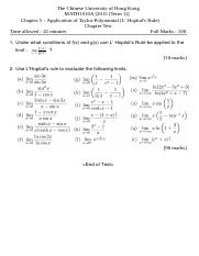Chapter 5 Application of Taylor Polynomial (L' Hopital's Rule) Test