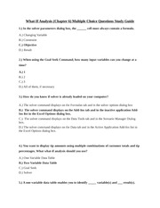 CIS 106 - What-If Analysis (Chapter 6) Multiple Choice Questions Study Guide