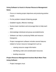 Using Software to Assist in Human Resource Management Notes