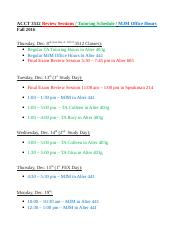 ACCT 3512 FEX Review - Tutoring - Office Hours Schedule(1)