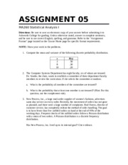 Statistical Ana Essay Question 1