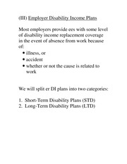 Module 4 Notes- Employer Disability Income Plan