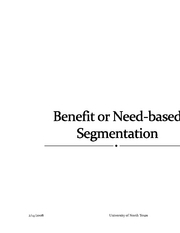 Benefit or Need-based Segmentation