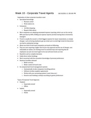 Lecture 10 Notes - Corporate Travel Agents
