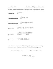 16.1 Derivatives of Trigonometric Functions