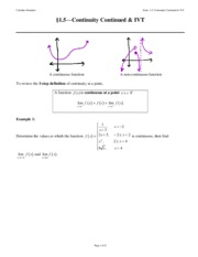 NOTES 01.5 Continuity on Intervals & IVT