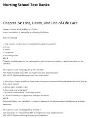 Chapter 24: Loss, Death, and End-of-Life Care | Nursing School Test Banks.pdf