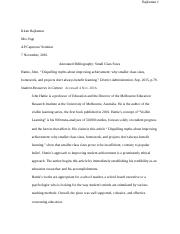 Class Sizes - Annotated Bibliography