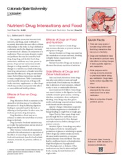Nutrient-Drug Interactions and Food