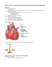 Acute Coronary Syndrome and Secondary Prevention of Myocardial Infarction